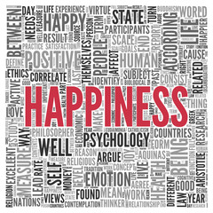 HAPPINESS Concept Word Tag Cloud Design