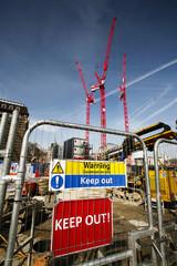 warning sign at construction site
