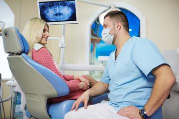 Patient girl in dentist