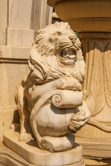 Park sculpture representing an angry lion
