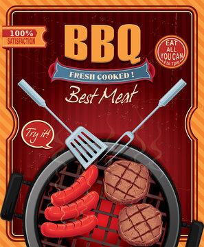Vintage BBQ poster design