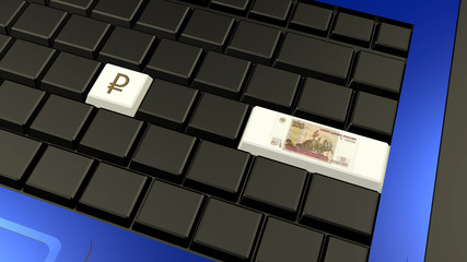 Russian ruble banknote and sign on the laptop keyboard