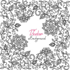 vector black and white floral pattern