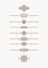 Set of 7 decorative vector monoline style text dividers with pai