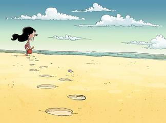 niña en orilla de playa