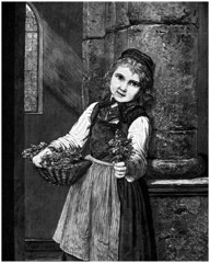 Girl : Flowers Seller - Marchande de Fleurs - 19th century