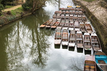 Punting boats moored up by Magdelan bridge