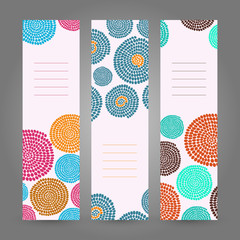 Set of Vertical Colorful Banners. Abstract African ornament.