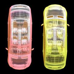 View of cars on black. 3d  render  illustration