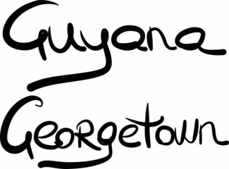 Guyana, Georgetown, hand-lettered