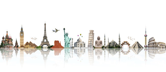 Wall Mural - Travel the world monument concept