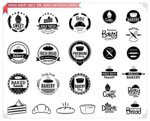 Vintage Bakery Logo Templates, Labels and Design Elements