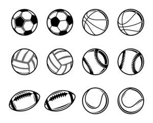Vector Black And White Sports Balls Collection