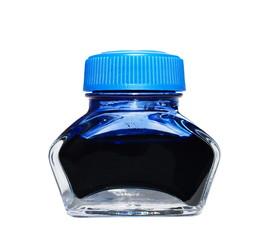 blue writing ink bottle half empty, isolated on white