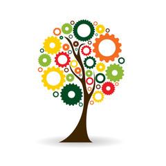 Gear Icon Tree Sign Vector Illustration