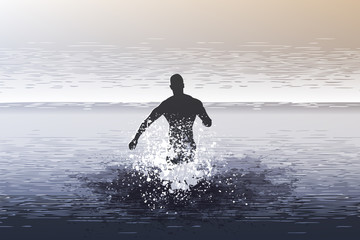 Mann läuft ins offene Meer