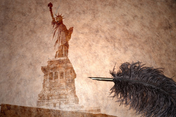 statue of liberty on a vintage paper