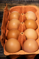 Closeup of fresh eggs in package