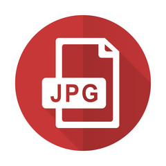 jpg file red flat icon