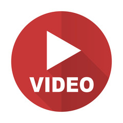 video red flat icon