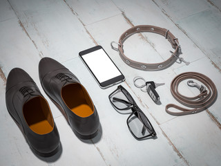 Every day carry man items collection: glasses, leash, shoes .