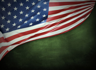 American flag on green background