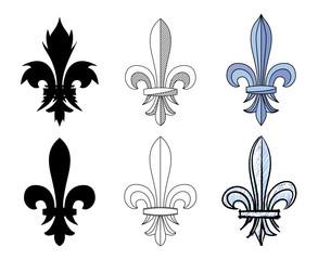 Fleur-de-lys, heraldic motif of lily flower. Collection