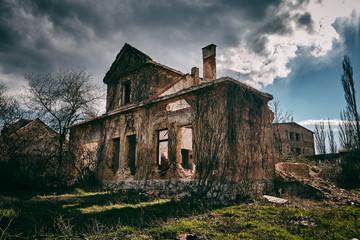 Old ruined building facade