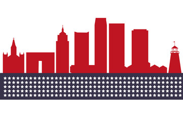 Oklahoma City skyline. Detailed silhouette. Vector illustration