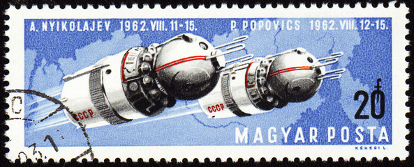 Soviet spaceships Vostok-3 and Vostok-4 on post stamp
