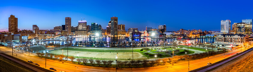 Baltimore skyline panorama at dusk