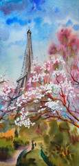 Watercolor painting landscape with blooming spring tree in Paris