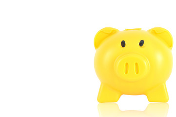 Yellow piggy bank isolated on white background, clipping path in
