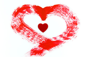 Red heart painting on white background