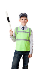 Young boy dressed as policeman with staff, isolated on white