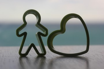 simple single standing man and heart love shaped cutter kept nex