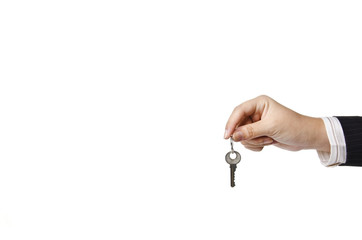 a business woman holding a key
