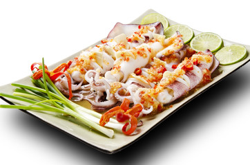 spicy fresh squid as Asian food
