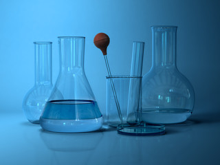 Laboratory glassware.