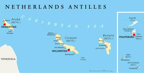 Netherlands Antilles Political Map