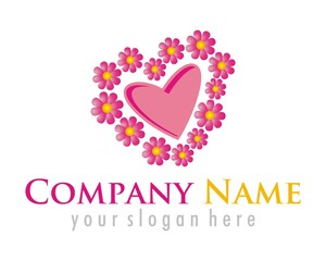 flower heart logo image vector