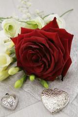 fond coeurs et fleurs