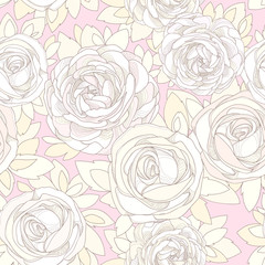 Floral seamless pattern. Roses and peonies