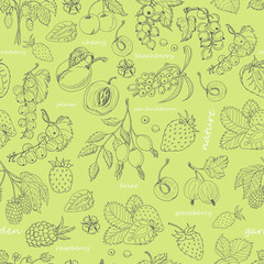 Vector seamless pattern with berries on a green background
