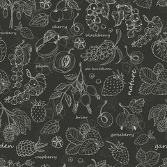 Vector seamless pattern with berries on dark background