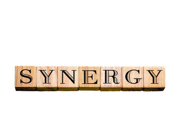 Word SYNERGY isolated on white background with copy space