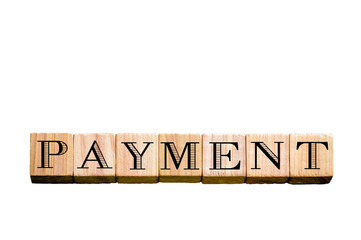Word PAYMENT isolated on white background with copy space