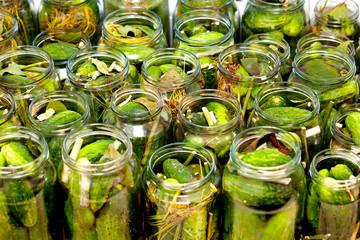 homemade cucumbers in jars