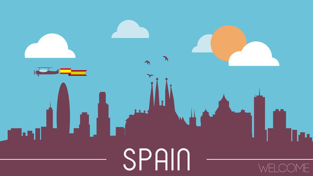 Spain skyline silhouette flat design vector illustration