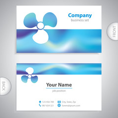 business card - Boat propeller - maritime symbols